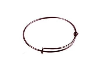 65 mm, Antique Copper,  Expandable Wire Bracelet Bangle, Qty:1