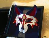 Framed Kitsune Mask - Handmade 8oz. Leather Mask