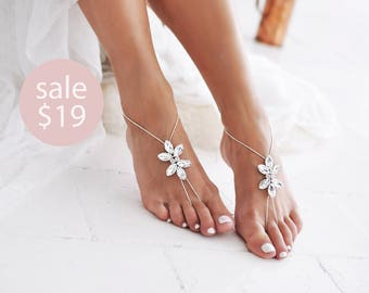 Barefoot Sandals, Anklet, Barefoot Wedding Shoes, Rose Gold, Beach Wedding Sandals, Foot Jewelry, Boho Anklet, Gold Anklet /SHIDEH/