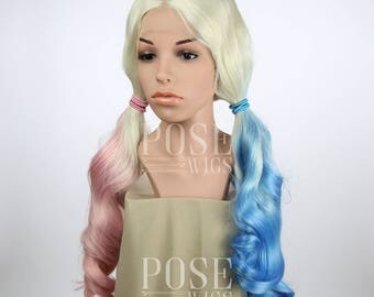 Harley Quinn Costume Lace Front Wig / Suicide Squad Cosplay Blonde Ombre Pink Blue Pastel Pigtails Sexy Cute Batman Joker / Princess Series