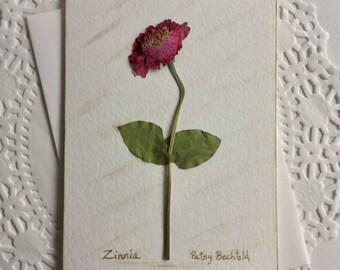 zinnia floral card pressed flower art card blank greeting card wedding stationery