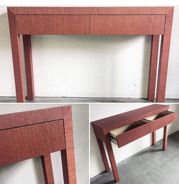Grasscloth Wrapped Desk/Table w/Drawers - Custom Built - Design Your OWN