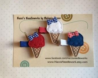 Felt Hair Clips- Red, White and Blue Ice Cream Cone Hair Clips