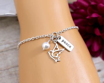 Peace Dove Bracelet, Sterling Silver, Charm Bracelet, Dove Jewelry, Gift for Godmother, Confirmation Gift, Religious Bracelets, Gifts