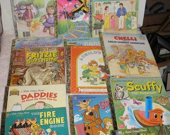 13 Golden Books /Tootle/Scuffy/Fritzie/Scooby-Doo/Beanstalk/Fire Engine/Cars Trucks/School