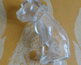 Adorable antique French glass bulldog dog miniature perfume bottle c1910 BELLE BROCANTE