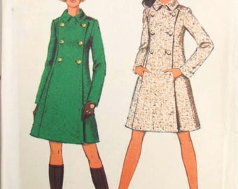 Vintage Sewing Pattern - Style 2574 - Coat Sewing Pattern - Vintage Coat Pattern - Small Sewing Pattern - Mod Sewing Pattern - 60s S