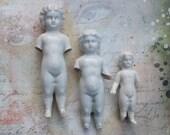 3 Large Frozen Charlottes Dolls Antique German Porcelain