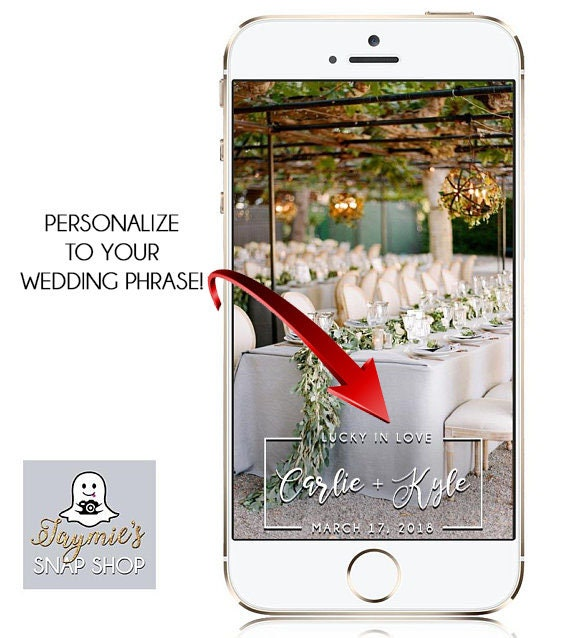 YOUR WEDDING PHRASE Classic Rectangle Snap Chat filter - Custom Geofilter!