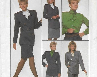Simplicity 8860 Women's 80s Blouse, Skirt, Pants, and Lined Double Breasted V Neck Jacket Sewing Pattern Size Bust 36