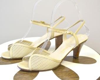 "1970s Amalfi ""Rustyco"" Cream Leather Heeled Sandals"