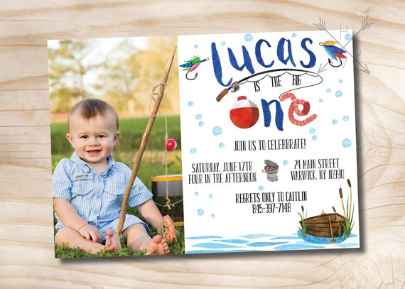 Fishing Photo Birthday Invitation Watercolor Fishing Invitation – The Big One Birthday Invitation