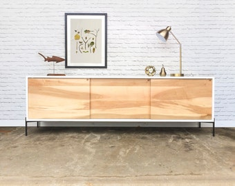 Roosevelt Credenza / Media Console - White/Brown Maple - Metal X base