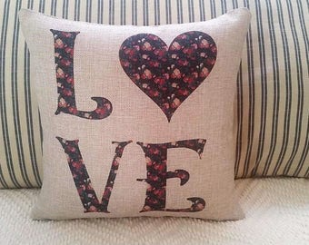 LOVE pillow, Farmhouse decor, rose design pillow, Valentine pillow, Wedding decor