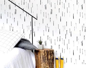 Dashes Wallpaper, Black Gray Wallpaper, Kids Wallpaper, Monochrome, Wall sticker, Self-Adhesive Wallpaper, Removable. Dashes Wallpaper