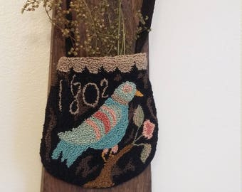 primitive needle punch folk art 1802 DISTELFINK bird bag ditty bag