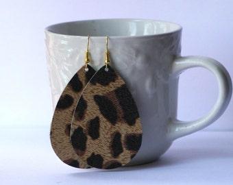 Leopard Animal Print Cheetah Brown Teardrop Drop Earrings