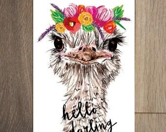 Flower crown postcard set - 8 pack- cactus painting