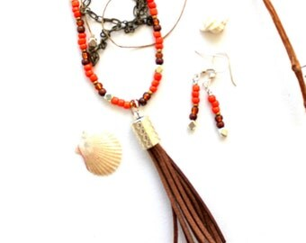 SET Tassel necklace and earrings ( orange-red )