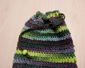 Bag Crocheted Handmade Drawstring Closure