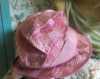 Antique  Vintage 1920s Flapper Hat Cloche Pink Woven Silk Ribbon Bow