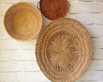 Vintage Basket Collection Three Low Baskets Gallery Wall