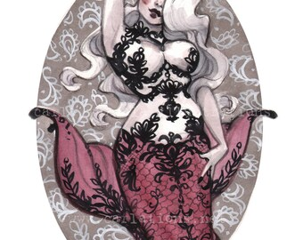 Pin Up Mermaid Black Lace Red Tail watercolor painting art print Carla Wyzgala carlations