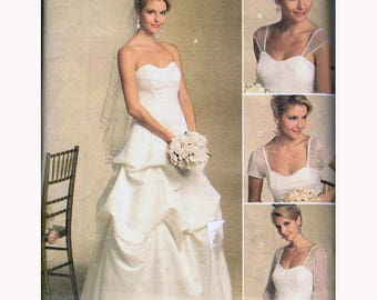 """UNCUT Strapless Full Skirt Wedding Dress w Detachable Sleeves Sewing Pattern Bridal Gown Size 16-22 Bust 38-44"""" Butterick 5184 G"""