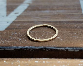 Nose Ring, 20g 14k Gold Filled Endless Hoop, Earring, Cartilage, 7mm, 8mm, 9mm 10mm or 12mm - Yellow Gold Filled