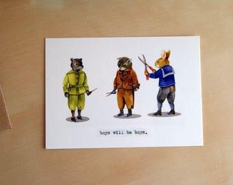 boys will be boys - watercolor illustration - postcard