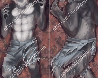 LARGE Werewolf 2-sided Body Pillow Case