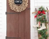 Christmas Wreaths For Front Door, Gift Hostess, Holiday Wreath, Outdoor Christmas Decorations, Burlap Holiday Wreath, Gift for New Homeowner