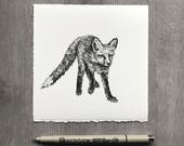 Red Fox Drawing  - Juvenille Fox Animal drawing - ink drawing - animal art animal lover biologist zoologist naturalist outdoorsman gift