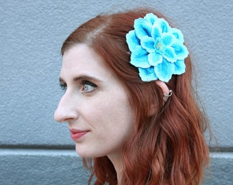 Teal Blue Dimensional Embroidered Applique Hair Clip // Flower Hairclip // Colorful Hair Accessories // Gift for Her // Festival Accessories