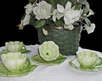 Gorgeous Green and White Flower and Leaf Italian Majolica Set of 4 Tea or Coffee Cup and Saucer Set 90s Nieman Marcus Never Used