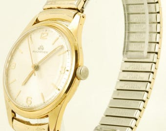 Bucherer vintage wrist wrist, 17 Jewels, heavy gold-toned & stainless steel round case, Spidel expansion band