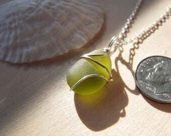 Tiny Chartreuse jewelry choker Beach Glass Pendant Olive SeaGlass Yellow Real Beach Glass Wire Wrapped Chartreuse Real Natural Sterling