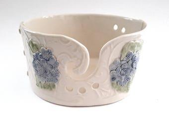 Pottery Yarn Bowl // Ceramic Yarn Bowl with Hydrangeas // Handmade Knitting Bowl // Yarn Holder // Gift for Knitter // Pottery Yarn Bowl
