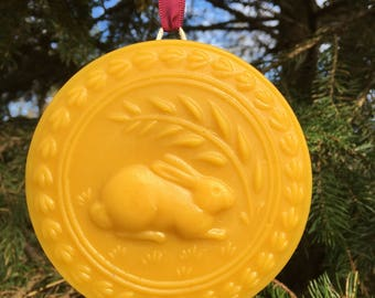 Beeswax Ornament -Rabbit with Greenery - 4.25 in wide