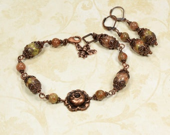 Victorian Jewelry Set BEE Jewelry Antique Copper Jewelry ROSE Jewelry GEMSTONE Bracelet Earrings Vintage Style Jewelry VictorianCuriosities