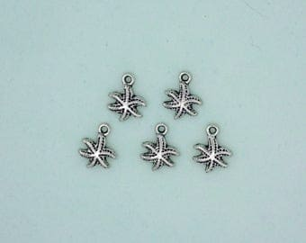 Star Fish Charm set of 5 Pewter Antique Finish Comes with Jump Rings