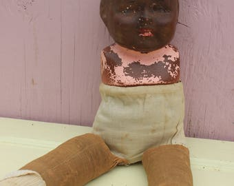 Vintage Doll, Black Americana, Negro, with Composition Head and Cloth Body and Legs, Armless