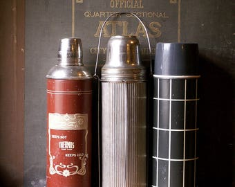 Antique Burnt Orange Thermos with Glass Liner