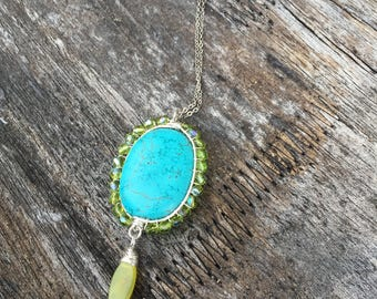 Sterling silver and Turquoise necklace, Jade charm,green Czech glass bead,Turquoise Howlite pendant, wire wrapped pendant, silver chain,boho