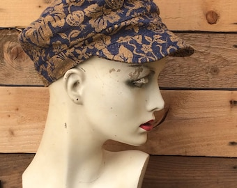 Blue vintage style fabric fisherman cap,fiddler cap,newsboy cap,Over to you,cap