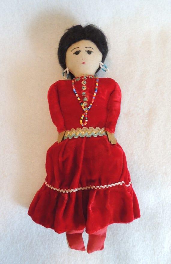 """Vintage Mexican Ethnic Folk Art Cloth Fabric 12"""" Doll"""
