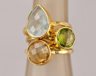 Mother's Ring Set, Birthstone Ring Set, Stacking Ring Set, Stackable Ring Set, Gemstone Rings, Bezel Rings, Gold Ring Set, Statement Ring