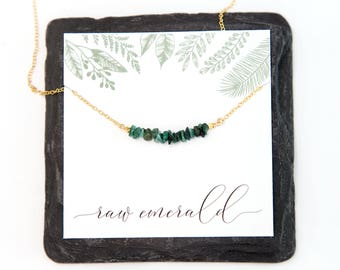 Raw Emerald Gemstone Bar Necklace, May Birthstone Gift, Nature Inspired Jewelry, 14k Gold Filled, Coworker Gift, Natural Stone Chips, Unique
