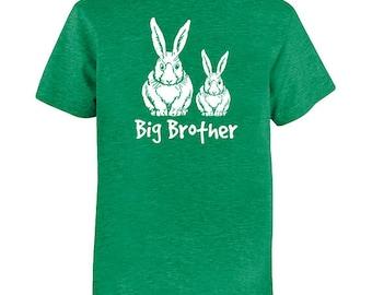 Bunny Kids TShirt - Rabbit Big Brother - Big Bro - Spring Bunnies - Tee Shirt Top - Kids Tshirt - PolyCotton Blended Tee