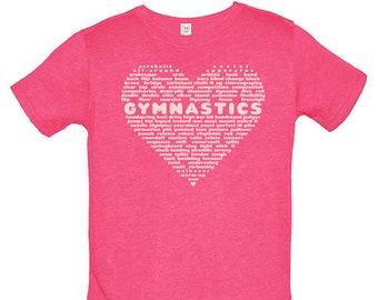 Girls Gymnastics Shirt - Cute Love Gymnastics for Girls - Gymnast Tee - Great Present for Girl - Cute Gymnastics Gift Top